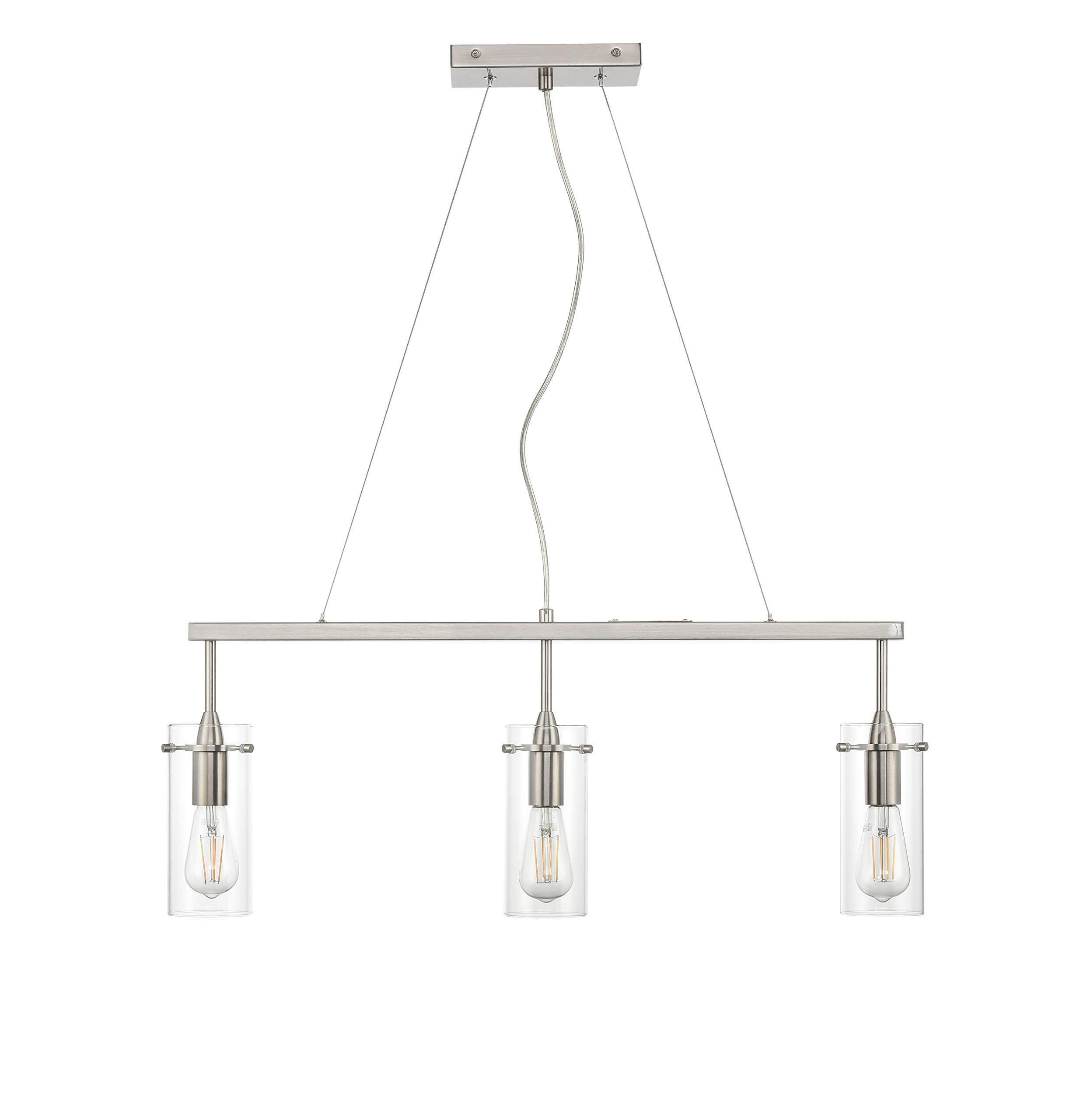 Effimero Pendant Lighting for Kitchen Island | Brushed Nickel Small 3 Pendant Light LL-P331-BN