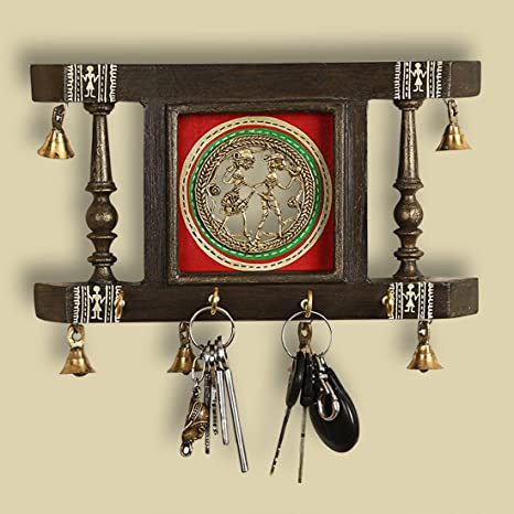 5dcd843e7ca ExclusiveLane  Brass People On Teak Wood  Warli Hand-Painted Key Holder  with Dhokra