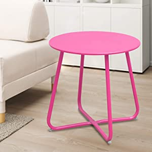 INOVIX Grand Side, Weather Resistant Round End for Outdoor,Home&Kitchen, Steel Patio Table, Pink