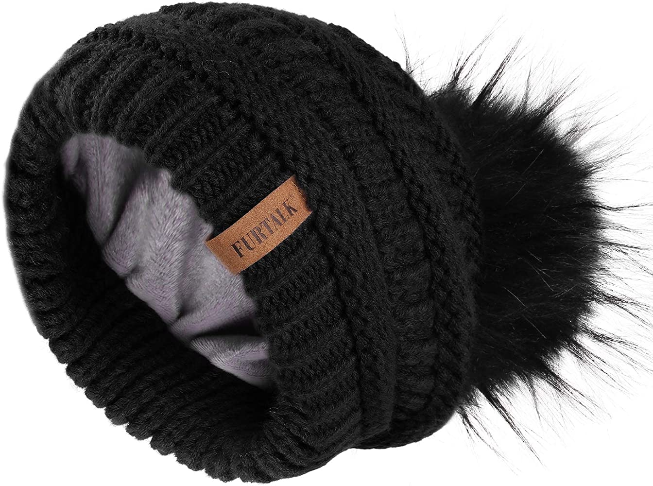 Secret-shop Female Fur Pom Poms hat Winter Hat for Women Girl s Hat Knitted Beanies Cap Hat,White,Kid Size