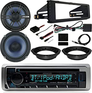 "1998-2013 Harley Davidson FL Touring- Kenwood CD Bluetooth Marine Receiver, 2X Enrock 6.5"" Marine Speakers, Dash Radio Install Kit, Speaker Adapters, Thumb Control Module, Antenna"