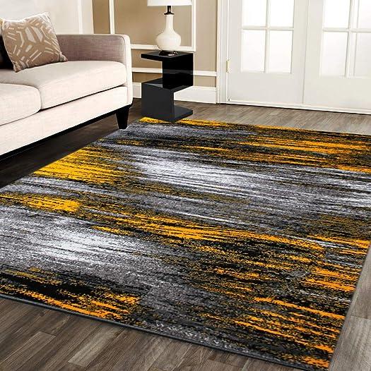 Masada Rugs, Modern Contemporary Area Rug, Yellow Grey Black 8 Feet X 10 Feet