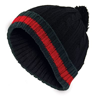 Mens Bobble Hat Woolly Winter Beanie Stripped Knitted Cap  Amazon.co.uk   Clothing 418cc92c0e8