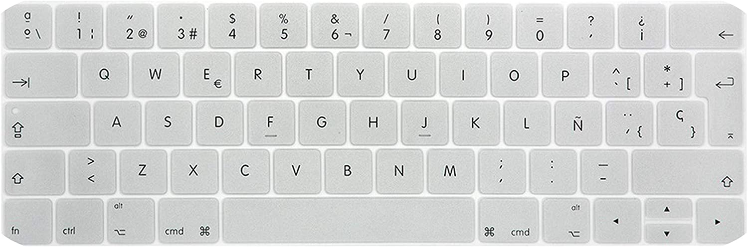 EU Layout Spanish Keyboard Cover for New MacBook Pro 13 15 inch for A1706 A1707 A1989 A1990 Silicone Protective Skin-Silver