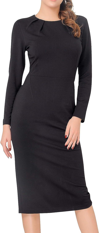 Marycrafts Womens Work Office Business Long Sleeve Pencil Midi Dress