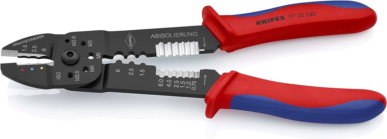 KNIPEX 97 32 240 Alicate para entallar terminales negro lacado con fundas en dos componentes 240 mm