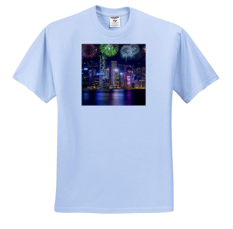 ts/_312599 Fireworks Over City at Night Hong Kong Hong Kong 3dRose Danita Delimont China - Adult T-Shirt XL