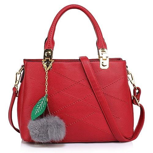 8d0acec740ef LnB Ladies Fashion Burgundy Tote Shoulder Bag With Faux-Fur Charm -  AG00537-S  Amazon.co.uk  Shoes   Bags