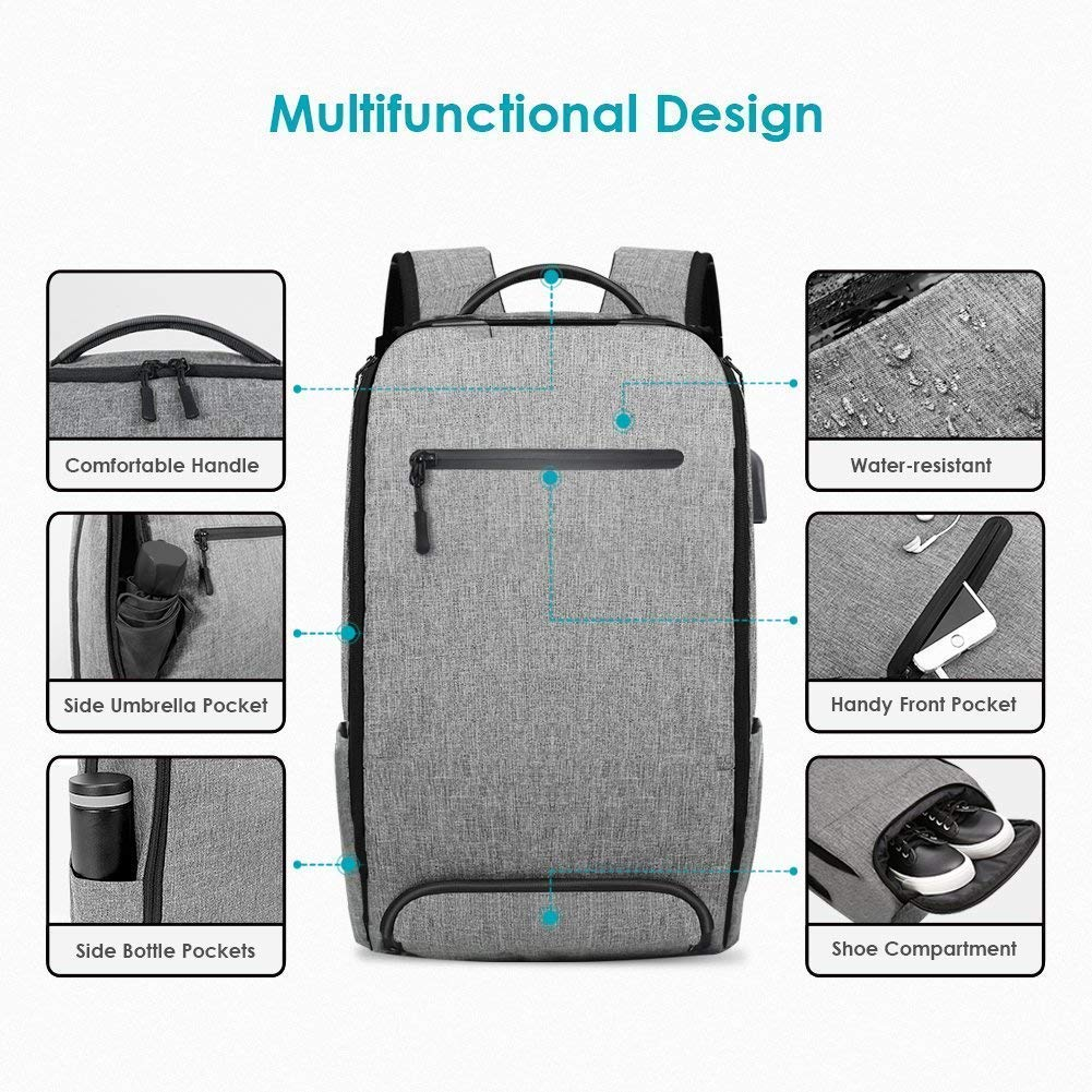 Laptop Backpack, REYLEO Backpack, Work Backpack for Man&Woman,Fits 15.6 Inch Laptop, with Shoe Compartment, External USB Charging Port, Water Resistant,Gray, Back to School Choice, RB06 by REYLEO (Image #7)