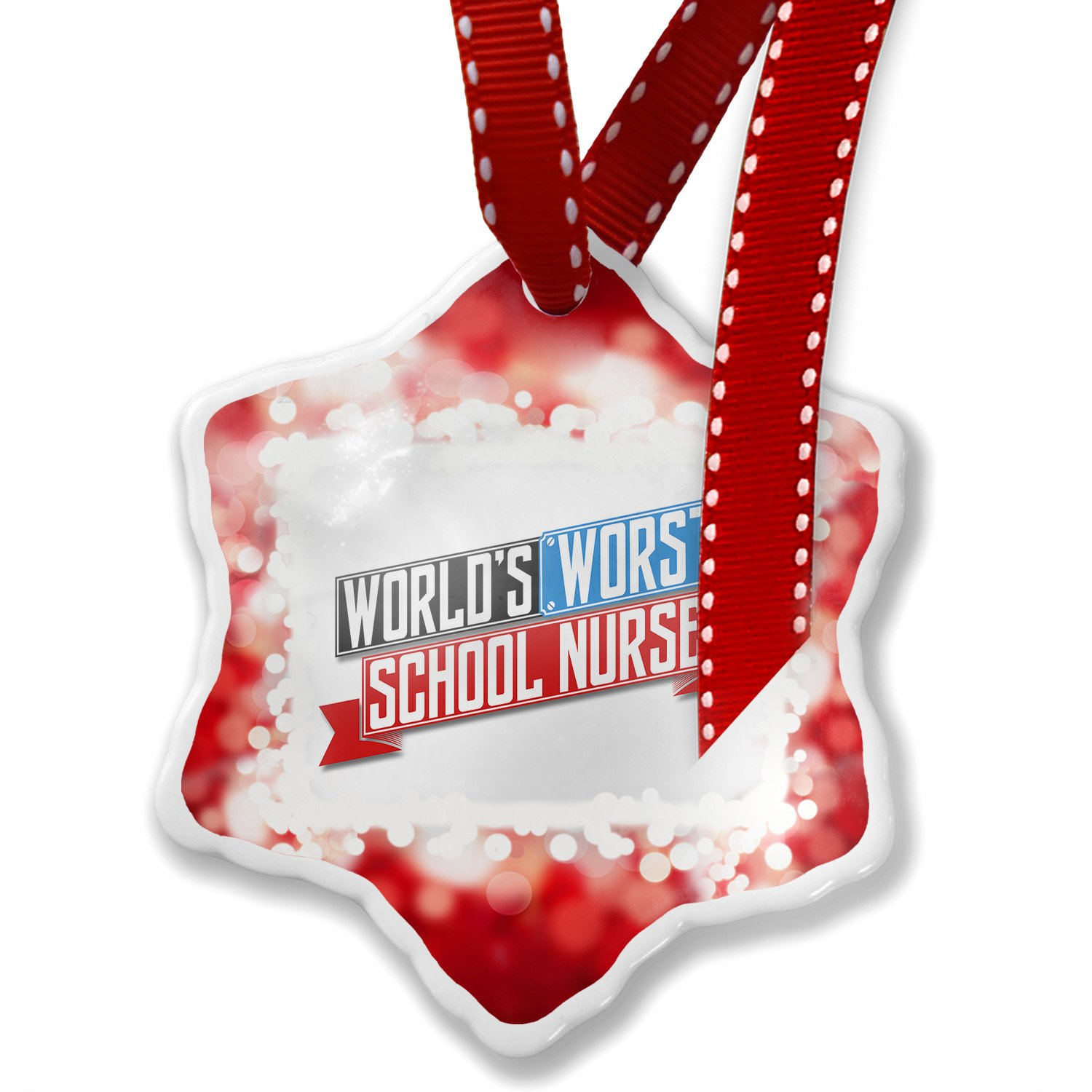 Christmas Ornament Funny Worlds worst School Nurse, red - Neonblond