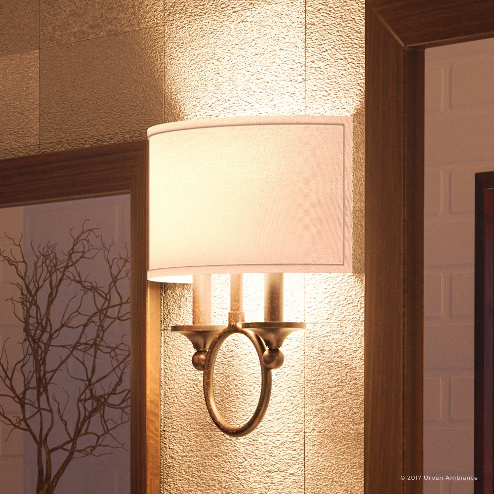 Luxury Mediterranean Indoor Wall Light, Medium Size: 13.5''H x 12''W, with Colonial Style Elements, Wall-Hug Design, Native Bronze Finish and White Linen Shade with Hardback, UQL2000 by Urban Ambiance