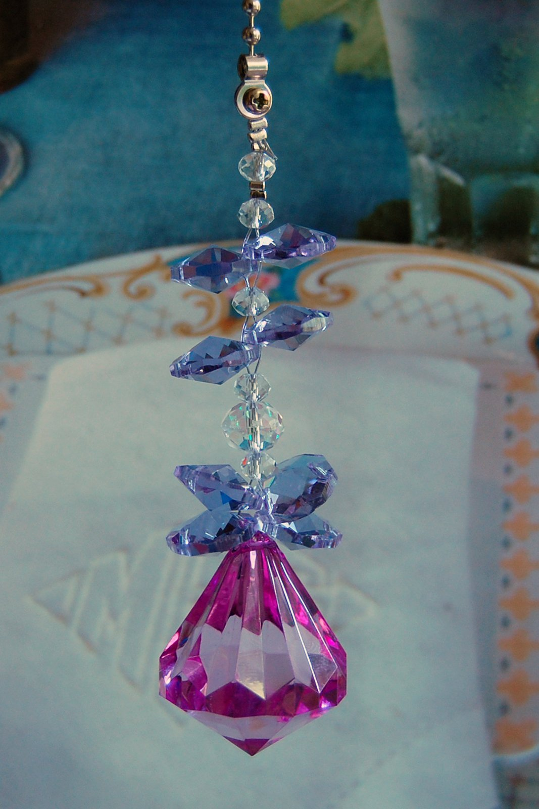 2 of Lilac Acrylic Crystal Diamond Ceiling Lighting Fan Pulls Chain