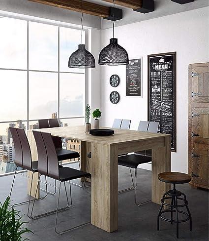 Home Innovation - Tavolo Consolle per sala da pranzo e soggiorno,  rettangolare, allungabile fino a 140 cm, finitura rovere, fino a 6 persone,  ...