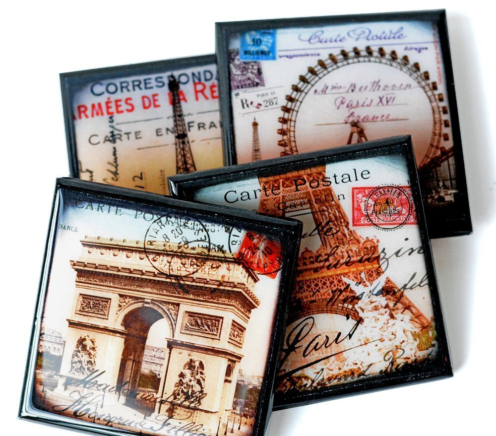 Vintage Paris Postcard Drink Coaster Set