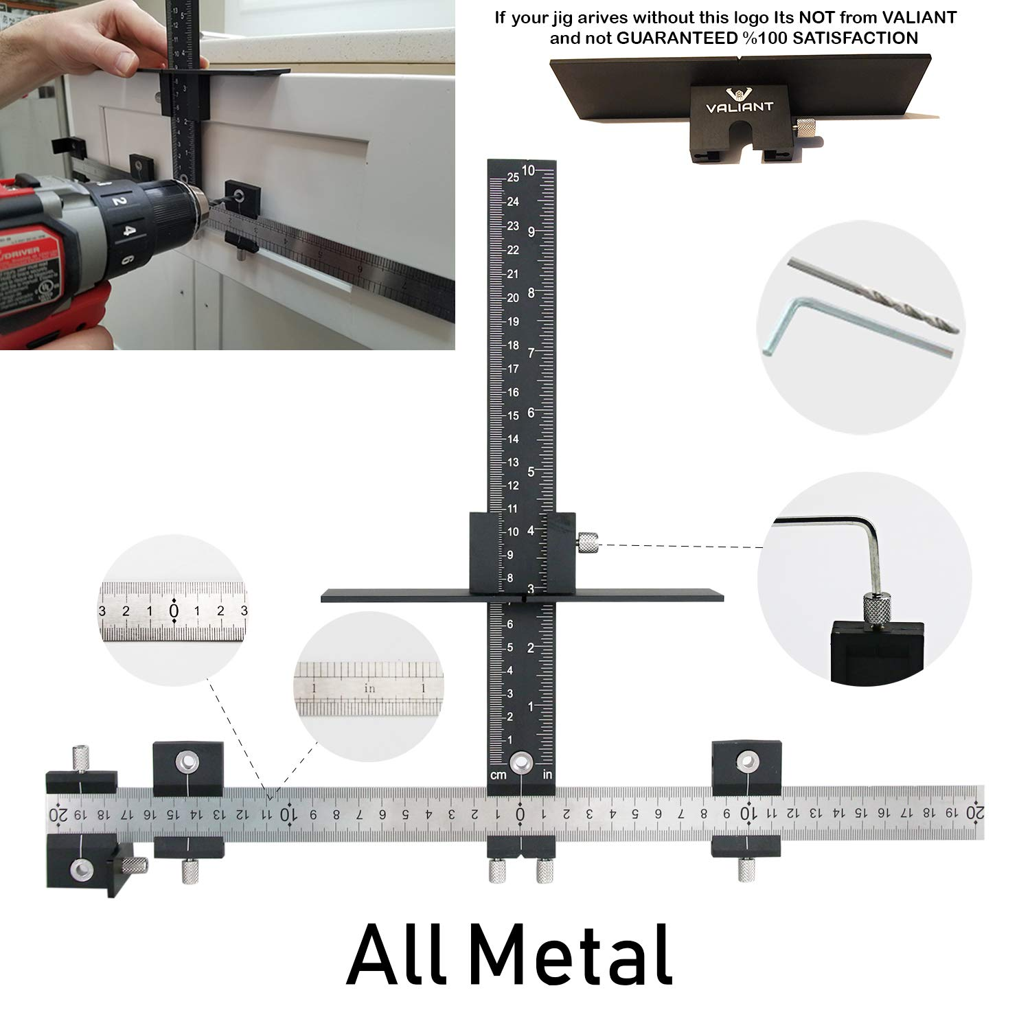 Valiant Cabinet Hardware Jig | Drawer Knobs and Pulls Template Tool for Drilling Holes on Wood | Adjustable Drill Guide Tools for Doweling, Boring and Mounting Door Handles | Made All from Aluminum by Valiant (Image #1)