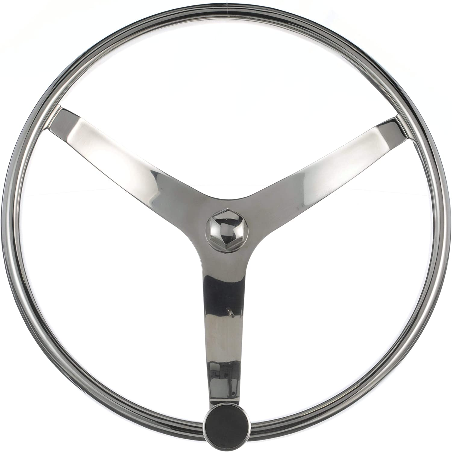 NEW Stainless Steel Sport Steering Wheel /& Knob 28481 Tapered Shaft 13 1//2 Dia