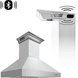 ZLINE 48 in. Professional Wall Mount Range Hood in Stainless Steel with Built-in CrownSound Bluetooth Speakers (667CRN-BT-48)