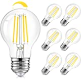 LED A19 Dimmable Light Bulbs 100W Equivalent, Vintage E26 Edison Bulbs 8W 1200LM, 5000K Daylight White, Clear Antique LED Fil