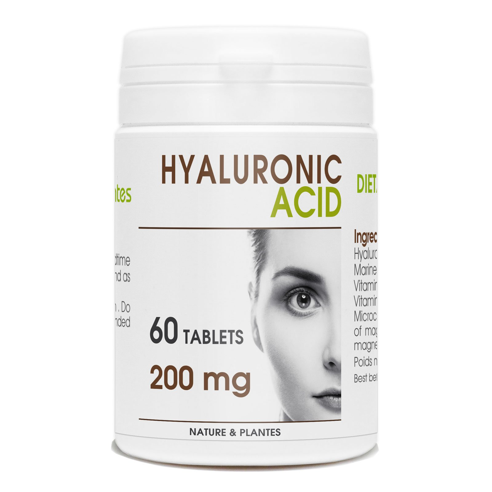 Hyaluronic Acid - 200mg per tablet - 60 Tablets by Nature Land Candles
