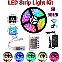 LED Strip Light 5M (16.4ft ) 5050, RGB, 300 LEDs, IP65, Alexa, Google, WiFi Controller, Smart Phone App, Sync with Music, Bluetooth Remote Control, Australian Adapter Power Supply, Indoor Outdoor Decoration, Bedroom, Kitchen, Garden, Balcony