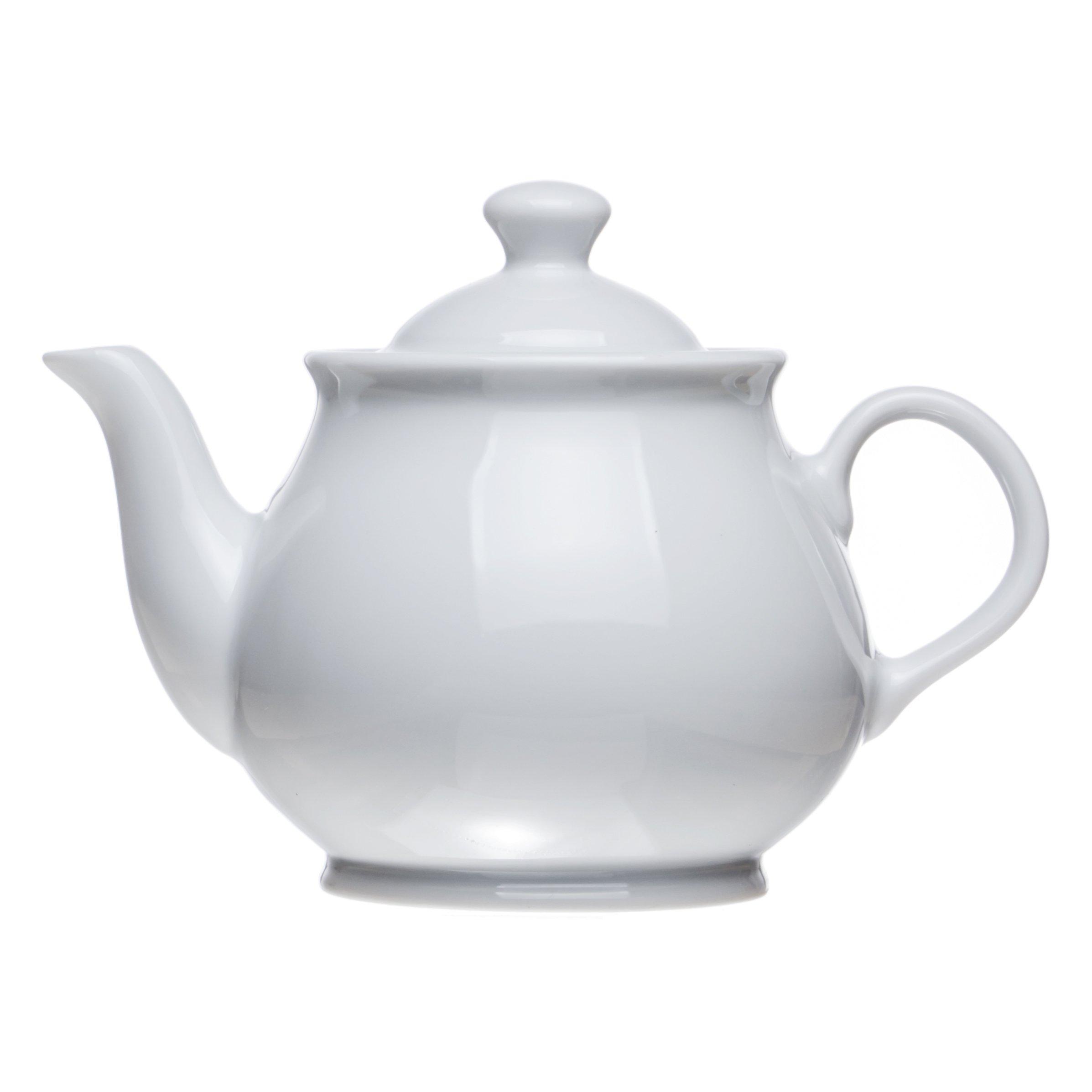 Classic White Porcelain TEAPOT (3 Size), Restaurant&Hotel Quality (20.2 oz)