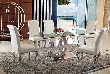 Juwel Esstische Edelstahl Esszimmer Tisch Glastische Glas Hochglanz