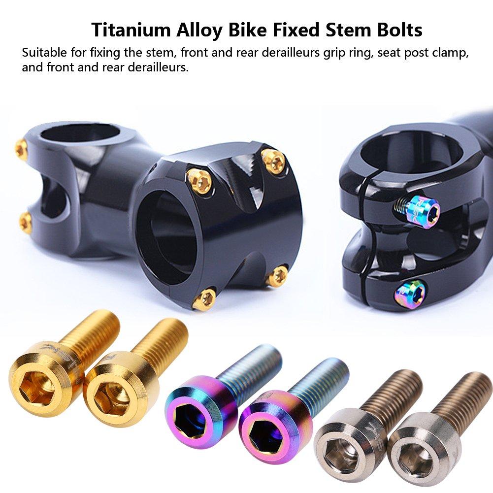 Vbestlife Titanium Stem Bolts M5 16mm Bicycle Stem Bolt Titanium Bolt  Screws Bike Fixed Stem Bolts for Mountain Bicycle Stem Parts Bike Screws  6Pcs