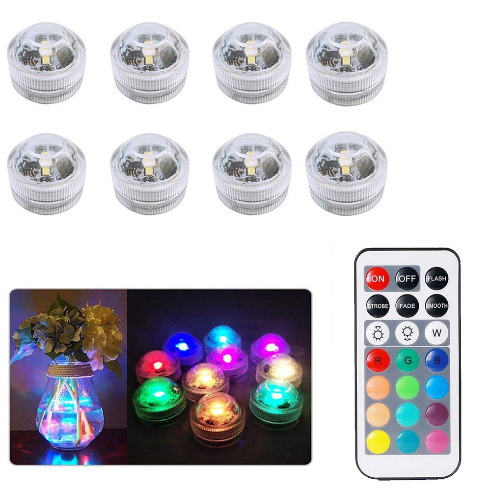 Submersible LED Lights, 8pcs/12pcs RGB Mood Lights LED Tea Lights Bath Underwater Lights for vase, bowls, Swimming Pool, Bathtub, aquarium and party decoration with Remote Control (8pcs+1 remote control) YOTHG