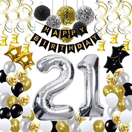 21st Birthday Decorations21st Party Supplies Include 89Pcs Silver Number 21 Balloons Banners Hanging