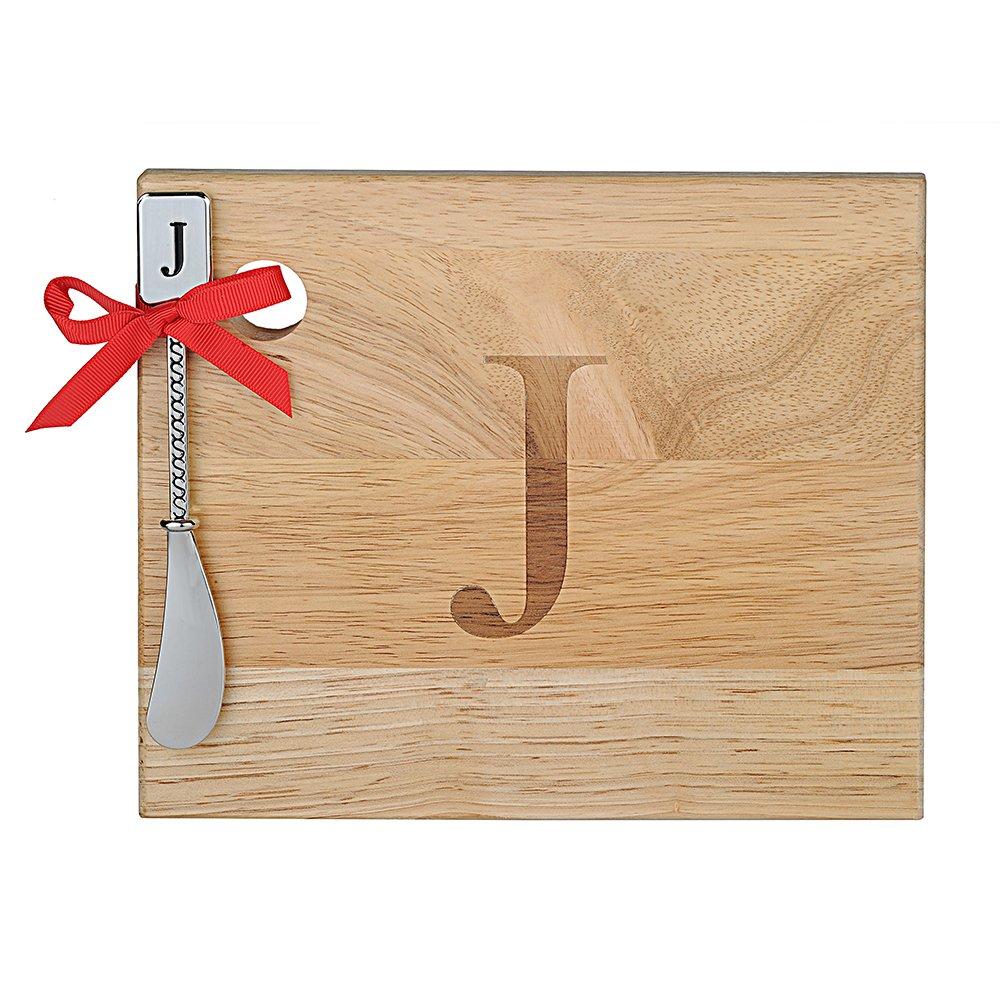 Monogram Oak Wood Cheese Board With Spreader, J-Initial (J)