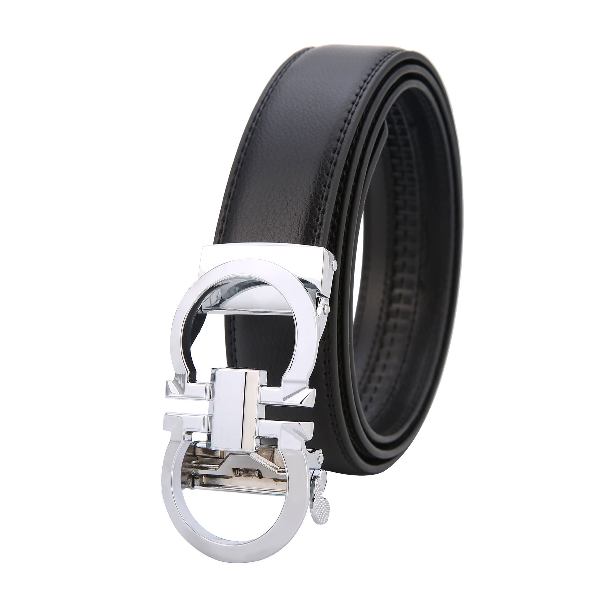 GO.LOVE Mens Genuine Leather Rachet Dress Belt Comfort Click on Gold Or Silver Buckle Wildth 1.38'' (SILVER, 27''-48'')