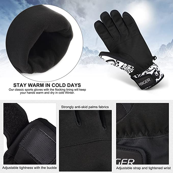 4e7366a9892d1 Vbiger Ski Gloves Unisex Winter Warm Snowproof Snowboard Gloves for  Bicycle, Skate, Motorcycle (Black 2, L): Amazon.co.uk: Clothing
