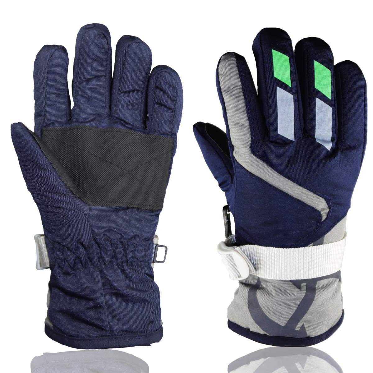 Children Ski Waterproof Gloves Winter Warm Outdoor Riding Thickening Gloves YR.Lover, Navy Blue, One Size