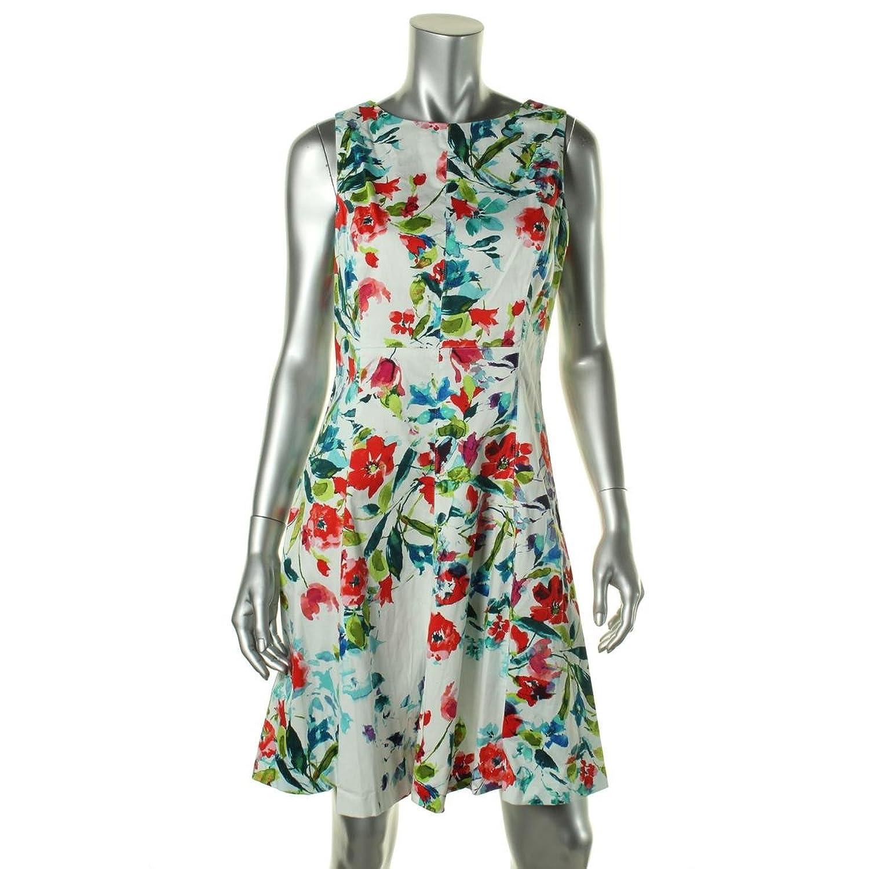 American Living Teal Mint Floral Print A-Line Sheath Dress