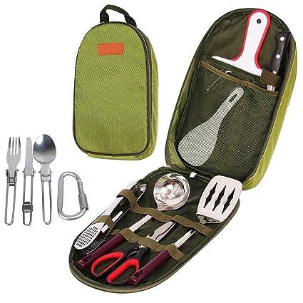 Amazon ezyoutdoor 12pcs camping kitchen utensils set portable ezyoutdoor 12pcs camping kitchen utensils set portable bbq camping cooking kitchen utensil organizer travel set workwithnaturefo