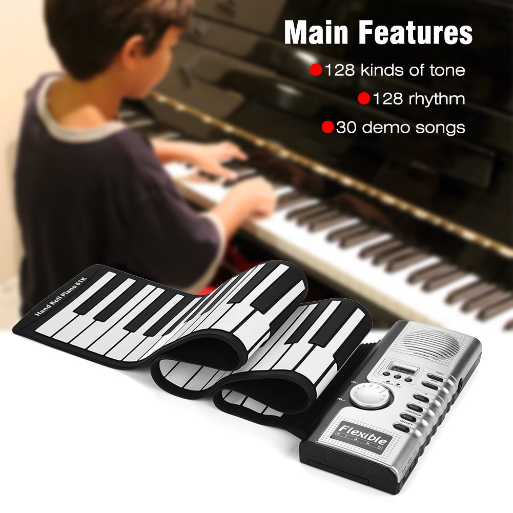 Dwawoo Portable Rolling Up Piano, 61 Keys Electronic Soft Piano Keyboard Hand Rolling Keyboard for Kids Beginners by Dwawoo (Image #2)