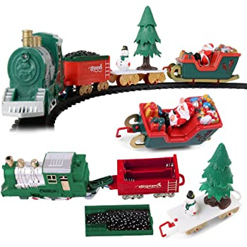 battery operated classic christmas santa clause train and carriage toy set with music and lights great christmas gift for kids - North Pole Junction Christmas Train
