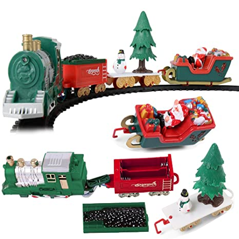 battery operated classic christmas santa clause train and carriage toy set with music and lights - Christmas Tree Train Sets Under Tree