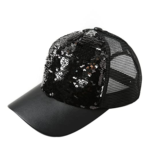 Hattfart Mens Womens Messy Bun Ponytail Reversible Magic Sequin Adjustable Baseball  Cap (Black) 7e0d7042536