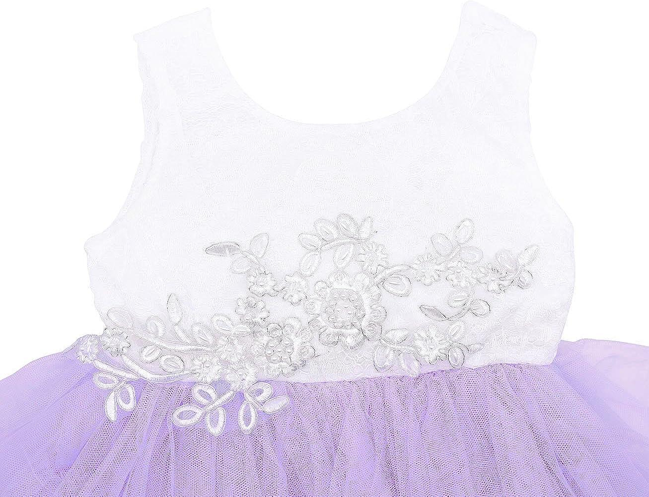 AmzBarley Girls Tutu Dress Child Kids Sleeveless//Long Sleeve Lace Tulle Flower Party Dresses Wedding Birthday Evening Pageant Christening Outfit