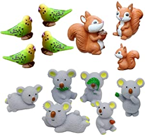 13 Pieces Fairy Garden Miniature Ornaments Mini Koala Bears Squirrels Birds Animal Resin Figurines for Moss Landscape Bonsai Crafts Home Decor