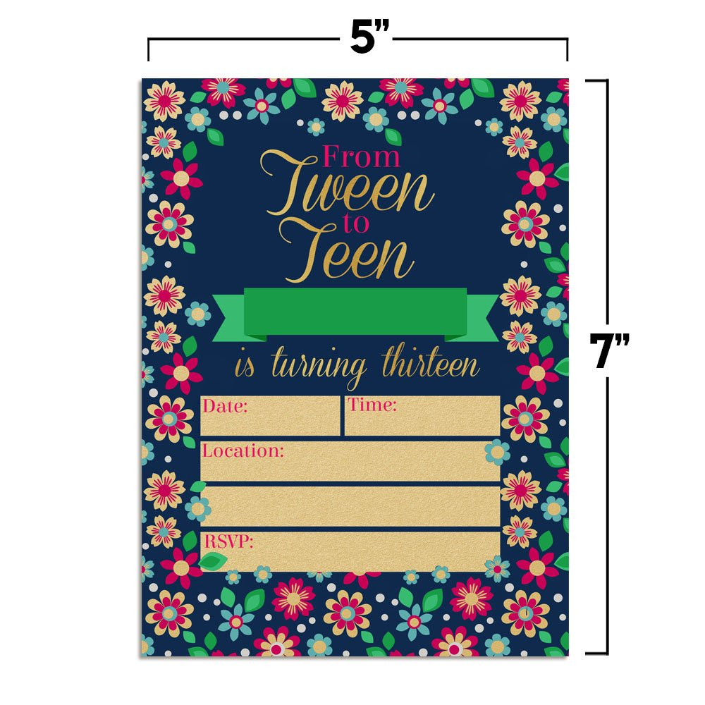 Amazon Bunches Of Flowers From Tween To Teen 13th Birthday Party Invitations For Girls 20 5x7 Fill In Cards With Twenty White Envelopes By