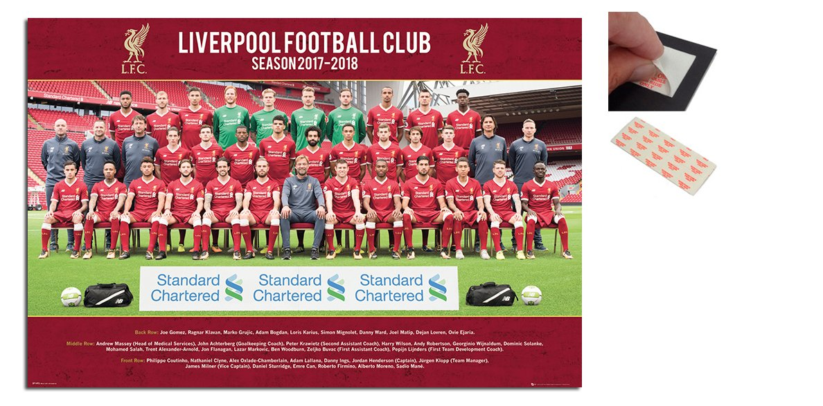 Bundle - 2 Items - Liverpool FC Team Photo 2017   2018 Season Poster - 91.5  x 61cms (36 x 24 Inches) and a Set of 4 Repositionable Adhesive Pads For  Easy ... abec99e13