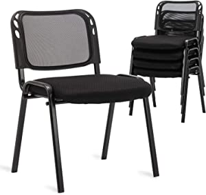 Stackable Conference Chairs Set of 5 Reception Chairs, DM Furniture Black Mesh Back Guest Chairs, for Conference Rooms, Events, Office, Reception Area, Hotel, Community Centers, Home and Dormitory