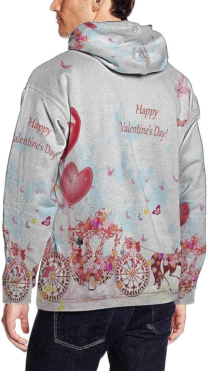 INTERESTPRINT Mens Girl in Carriage with Valentines Pocket Hoodie