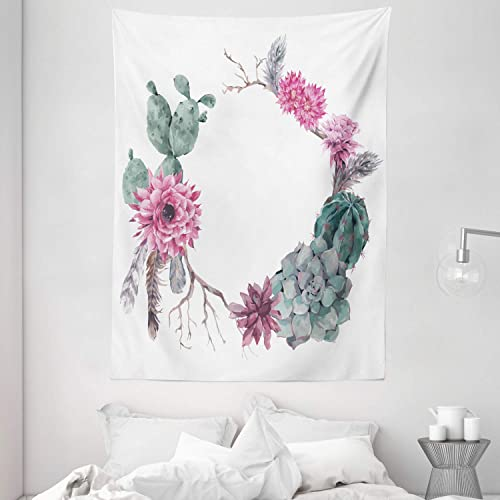 Ambesonne Succulent Tapestry, Summer Vintage Floral Wreath Boho Form Style Branches Feathers, Wall Hanging for Bedroom Living Room Dorm, 60 X 80 , Green Pink