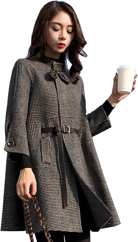 Faux Fox Fur Collar Women Cotton Blend Trench Coat Woolen Coat Single Breasted Overcoat