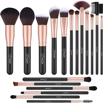 BESTOPE Brochas de Maquillaje Profesional 18 piezas Pinceles de Maquillaje de Fibra Sintética para Sombra de Ojos, Base, Rubor (Oro Rosa): Amazon.es: Belleza