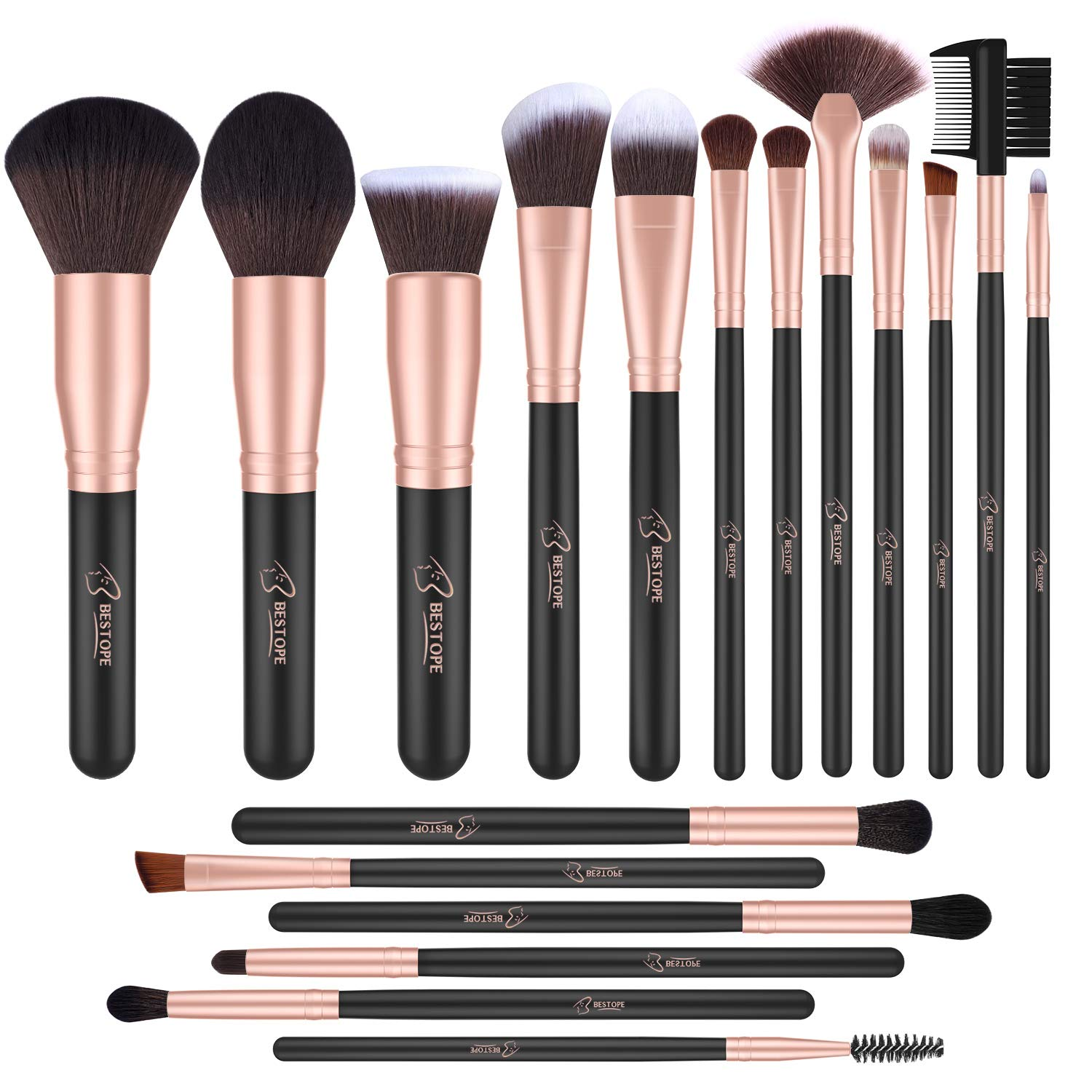 BESTOPE 18 Pcs Makeup Brushes Premium Synthetic Fan Foundation Powder Kabuki Brushes Concealers Eye Shadows Make Up Brushes Kit
