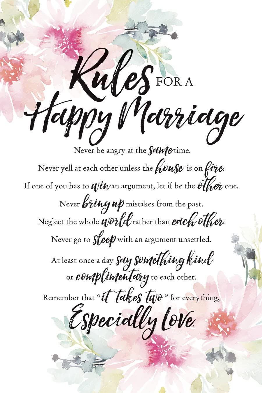 """Dexsa Rules for Happy Marriage Woodland Grace Series 6"""" x 9"""" Wood Plaque with Easel"""